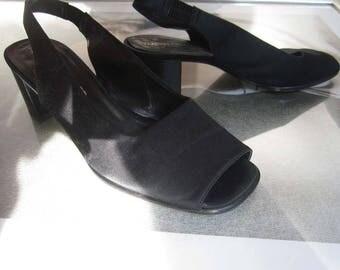 Vintage Martini Osvaldo satin pumps shoes Slingbacks Sandals 39/6 shoes