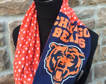 Chicago Bears - Infinity Upcycled T shirt Scarf - Double Loop - NFL