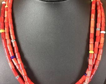 Native American  Red Bamboo Coral Turquoise  Sterling Silver Necklace