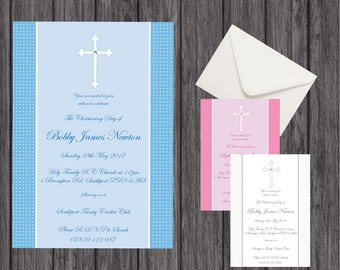 Christening Invitation, Naming Day Invitation, Cross with Diamante Detail, Envelope Inc