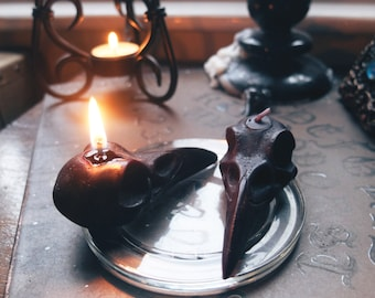 Black Raven Skull Candle x 2!