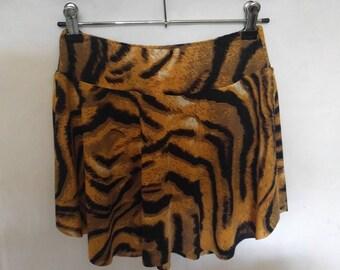Ballet skirt, tiger print skirt, sport skirt, pull on skirt