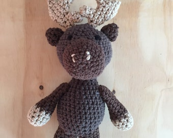 Stuffed Moose, Newborn Photo Prop, Crochet Moose, Baby Shower Gift, Gift for Kids, Stuffed Toy, Amigurumi, Nursery Decor, Moose Stuffed Toy