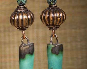 Blue green scorched earth focal bead drop earrings