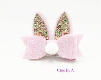 Easter,Easter Bunny Bow,Easter Bunny Felt Bow,Easter Bunnies Hair Bow,Girls Hair Bow,Easter Hair Bow