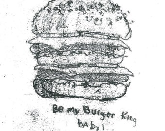 Original Monoprint Ink Drawing by Contemporary Artist Olivia pilling  'Burger King'