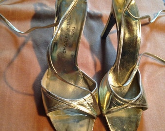 CHARLES JOURDAN - PARIS - pair of shoes leather Golden open early 80's