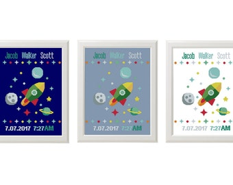 Baby birth sampler birth announcement  Newborn Birthday rocket cross stitch space, birth record, personalized gift, DIY customizable pattern