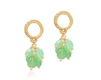 Gold Vermeil and Chrysoprase Tassel Earrings