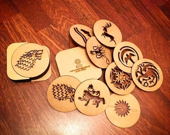 Game of Thrones Coasters, Coaster Set, GOT Coaster, GOT, Jon Stark, House Stark, Jon Snow, Coasters, wood coasters, juego de tronos