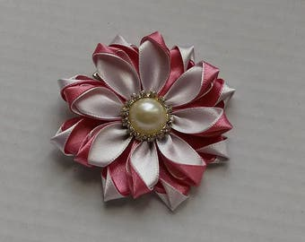 Powder pink flower Barrette and hair kanzashi/Fleur kanzashi/Ribbon satin white/clip