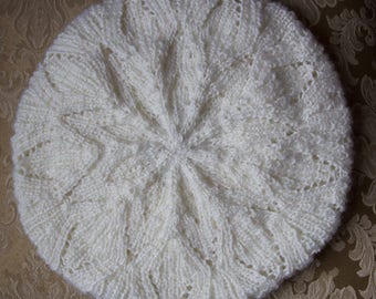 Winter white beret, womens winter hat, french beret, womens knit hat, hand knitted beret for women, snowflake hat, ready to ship