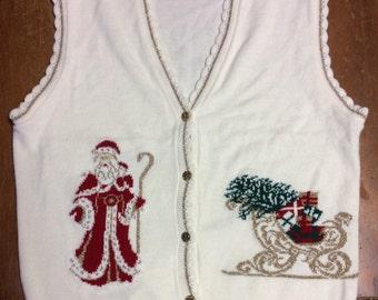 Christmas Vest - Ugly Christmas - Tacky Christmas - Santa Sweater - Christmas Party Vest - Tacky Sweater - Gag Gift - Sweater Vest