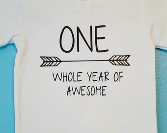 FREE SHIPPING - First Birthday shirt/ one whole year of awesome - boy or girl