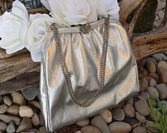 Silver Clutch With Flower Clasp/wedding clutch/Play Purse For Little Girl/evening clutch/vintage clutch