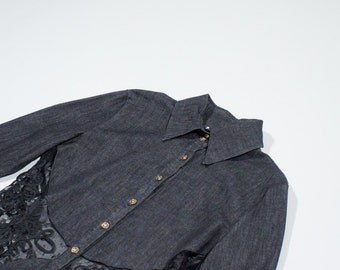 VERSACE - denim shirt with laces