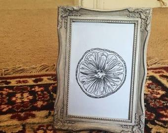 Orange Sketch Print