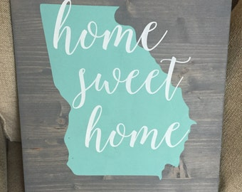 16x20 home sweet home georgia wood sign