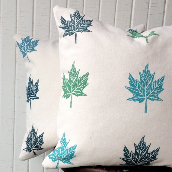 Canada decor, cottage decor, handmade organic cotton pillow cover set, maple leaves blue green, accent pillow, throw pillow, cushion, canvas