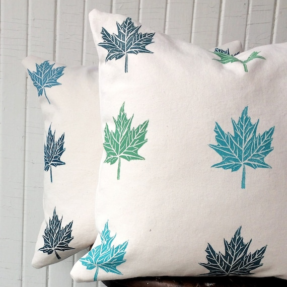 FREE SHIPPING! organic cotton pillow cover set, maple leaves, blue and green, accent pillows, cottage chic