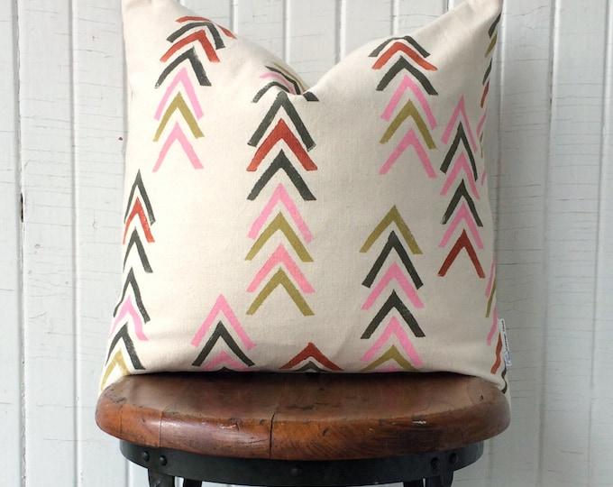 Organic cotton canvas chevron pillow geometric throw pillow modern style pillow warm colours eco-friendly handprinted accent pillow decor