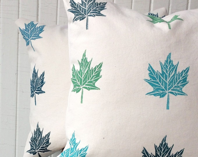 Set of two organic cotton pillow covers - maple leaves in blues and greens