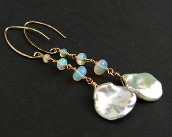 White Pearl Earrings gold plated with Welo Opal, long earrings, Silver earrings