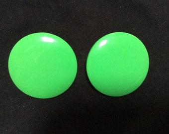 Huge green button clip on earrings