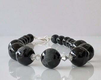 Black Agate Necklace -Tiger Necklace - Crystal Necklace -Silver Necklace -Feng Shui Necklace -Lucky Necklace -Statement Necklace -UK Seller