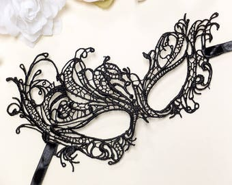 Black Macrame Masquerade Mask - Asymmetrical Venetian Lace Mask - Mardi Gras Masquerade Mask - Costume Party Lingerie Eye Mask (1 MASK)