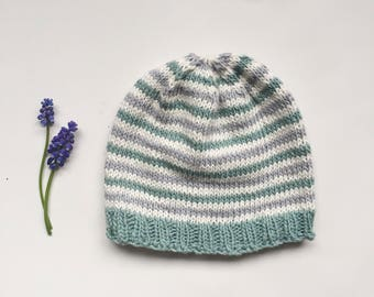 Baby Hat Striped, Knitted Baby Beanie, Cotton Striped Baby Hat, Blue Turquoise and White Hat, Baby Photo Prop Hat