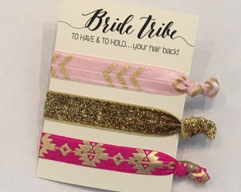To Have And To Hold Your Hair Back Bride Tribe hair tie Pink and Gold