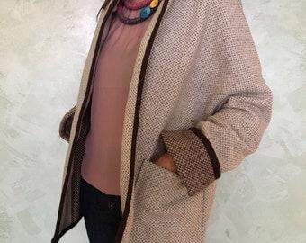 Korean coat Olivart//woolen coat//sartorial clothing woman//Fashion women//Gift Idea//natural yarn//Vintage