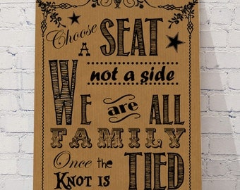 Choose a seat, not a side, PERSONALISED wedding print,ready to frame on your BIG day, Kraft
