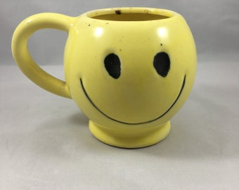 Vintage Yellow Smiley Face Mug Made by Rubens