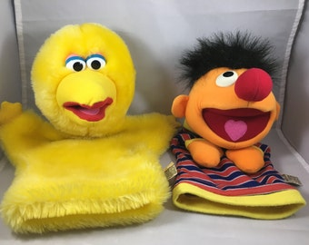 Vintage Sesame Street Big Bird and Ernie Hand Puppets Made By Applause