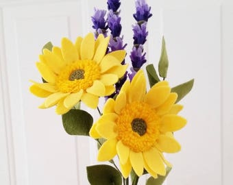 Felt Sunflower + Lavender Bouquet