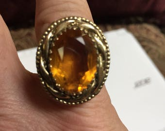 Large Yellow Stone Ring Size 6