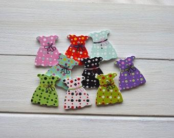 Wood Buttons Pretty Dress - 6 pcs