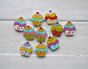 Wooden Button, Cupcake - 10 pcs