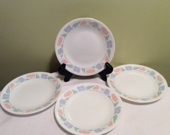 Vintage Corelle by Corning Friendship Pink Blue and Green Bread Plates Set of Four