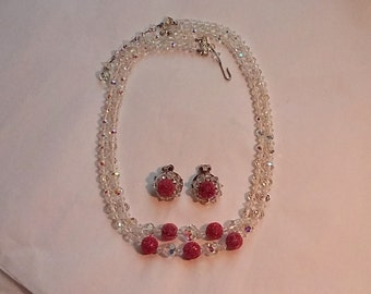 Elegant Dbl. Strand Iridescent Crystal Glass Bead  Necklace, Cranberry Accents, Clip Earrings