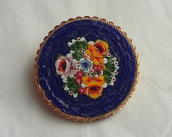 Vintage Italian Mosaic Brooch, Blue Background Floral Design