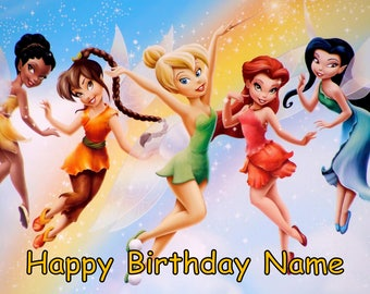 Tinkerbell Fairy Edible Image Cake Topper Personalized Birthday 1/4 Sheet