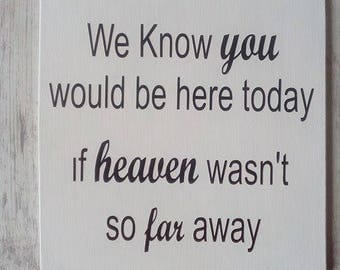 We know you would be here today if heaven wasnt so far away Wedding Sign