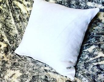 Pure white linen cushion