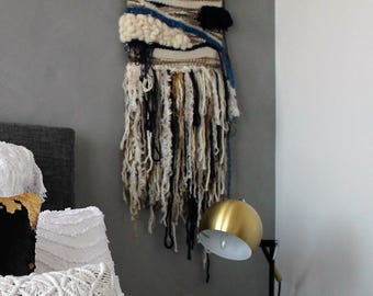 Ready to ship - Neutral,  Blue and Gold Weave / Wall Hanging