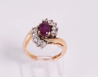 14K Yellow Gold Ruby and Diamond Ring , 4.4 grams, size 4