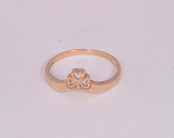 14K Yellow Gold 3 Leaf Clover Ring, Size 7.25