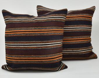Vintage Pillow, Turkish Pillow, Rug Pillow, Kilim Pillow, Anatolian Pillow, Cushion Cover, Vintage Cushion, Two Pillow Covers, 50 x 50 cm
